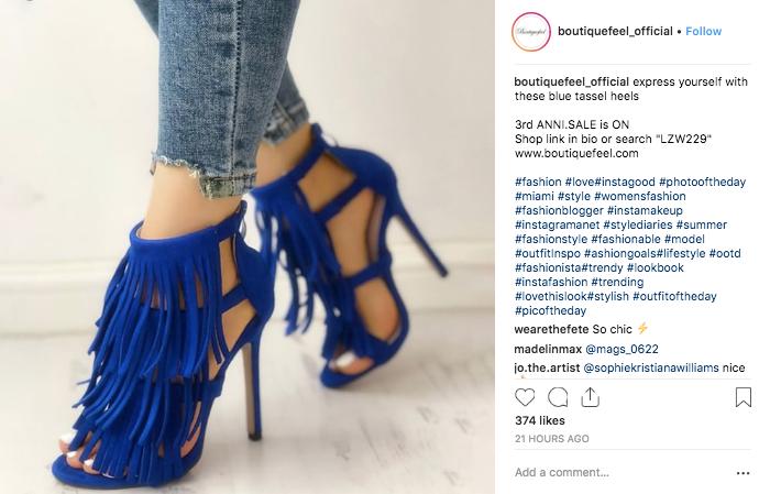 Instagram Ecommerce Sales Boutiquefeel Example
