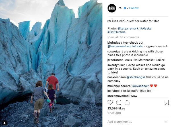 Instagram Ecommerce Sales REI Example