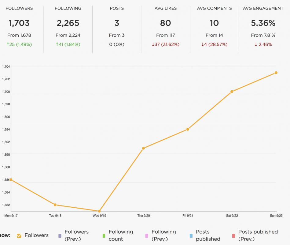 Instagram follower count analytics