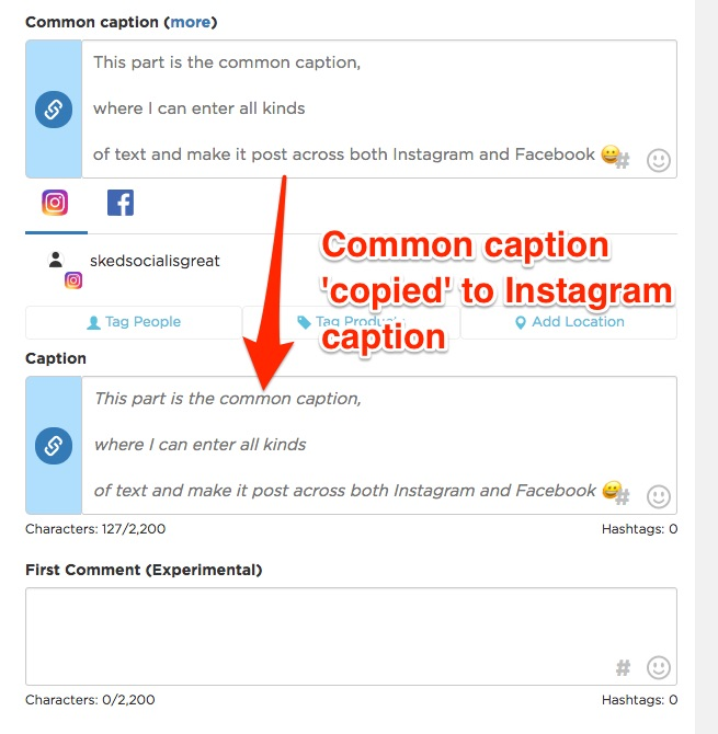 How does 'common caption' work? – Sked Social Knowledgebase