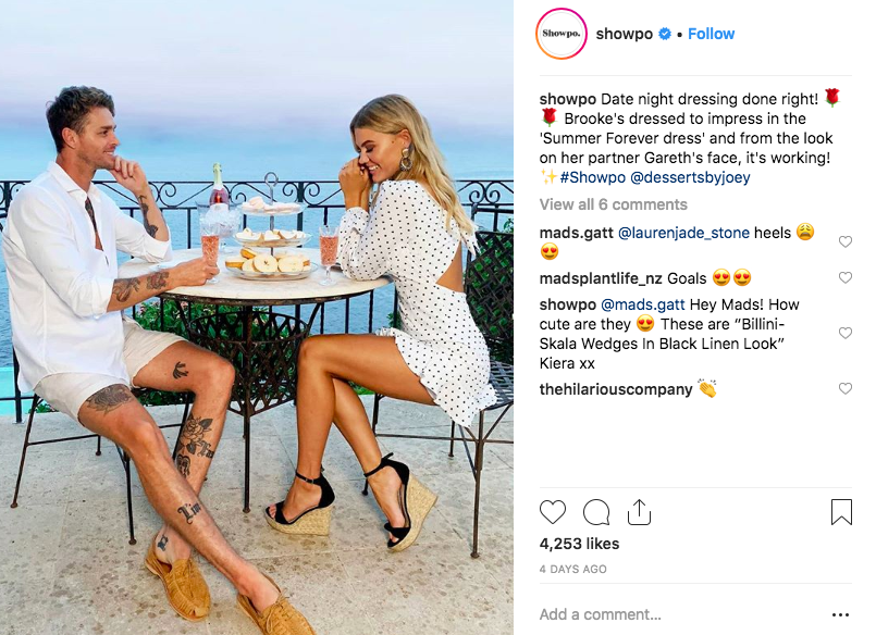 A European-inspired date night was one part of the content Showpo created for their Valentine's Day e-commerce campaign.