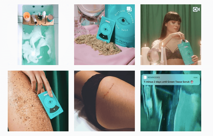 The brand's social media aesthetic emulated the Green Tease body scrub for the product launch.