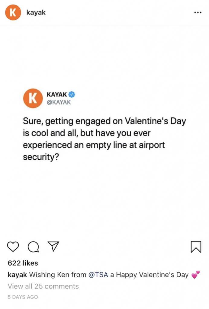 Travel Brands on Instagram - Kayak - Sked Social 2