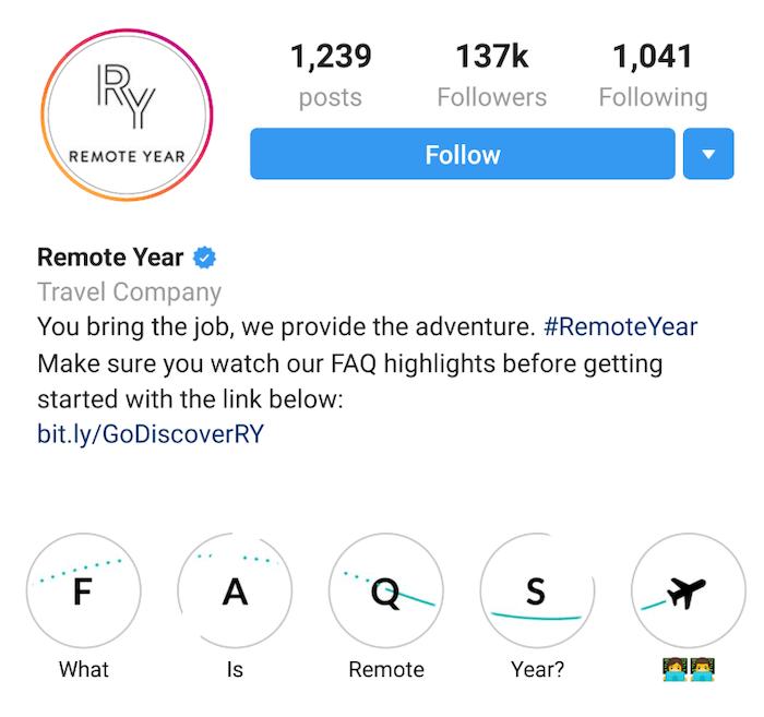 Travel Brands on Instagram - Remote year 1 - Sked Social