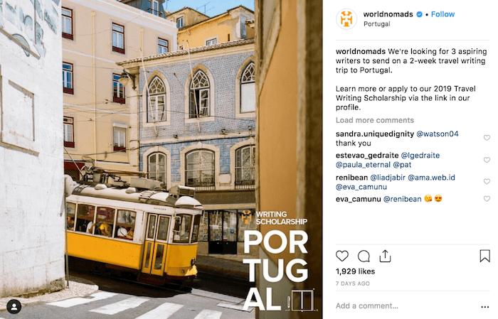 Travel Brands on Instagram - Worldnomads - Sked Social 1