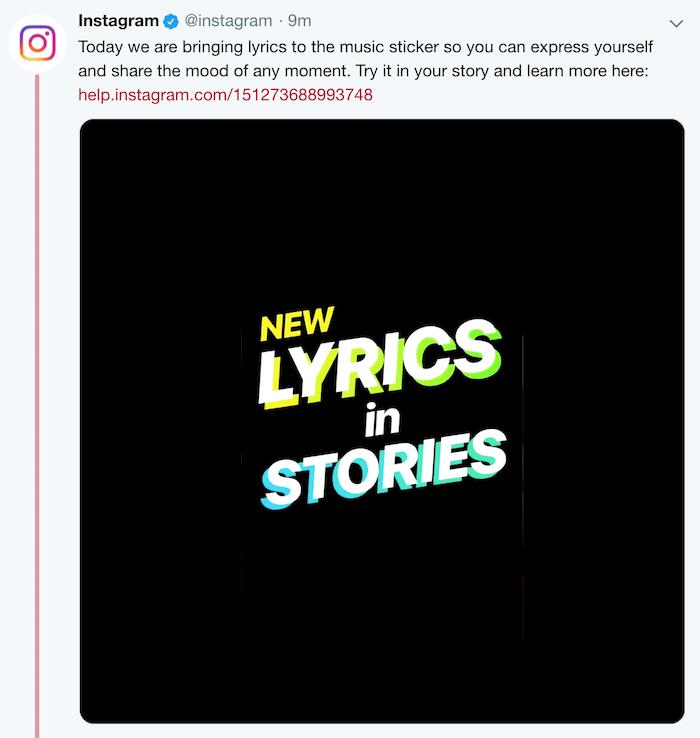 Instagram Lyrics in Music Sticker for Stories
