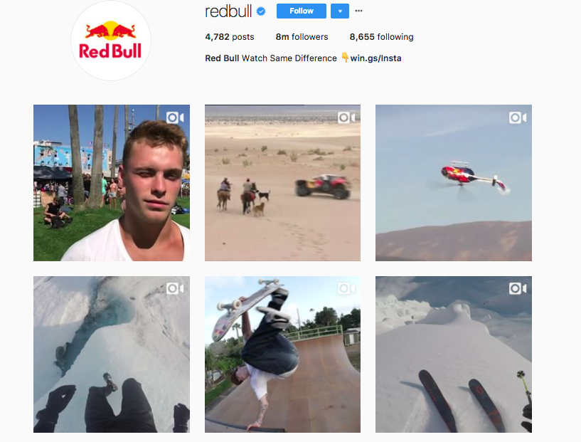 Red Bull has a strong brand story communicated well on It's Instagram feed-how-to-engage-your-instagram-followers