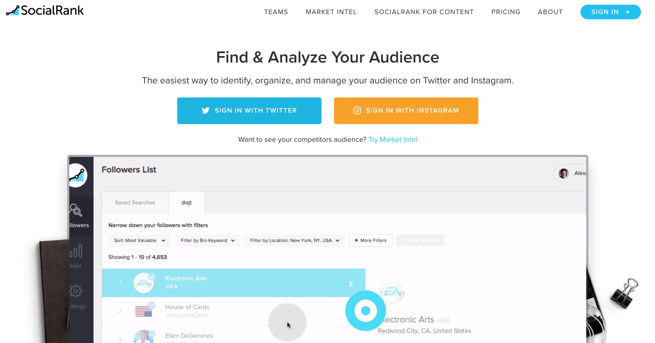 socialrank - instagram analytics tools