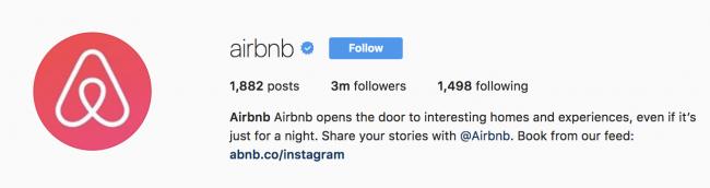 airbnb instagram bio example